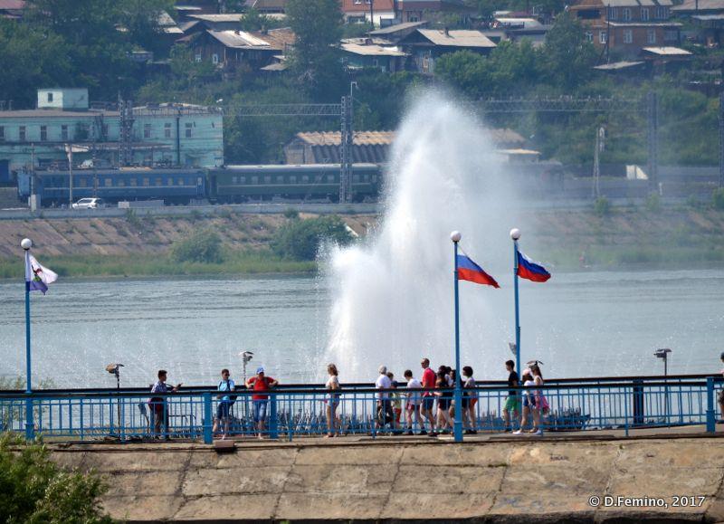 Fountain in Angara river (Irkutsk, Russia, 2017)