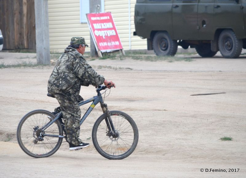 Camouflage cyclist (Khuzhir, Russia, 2017)