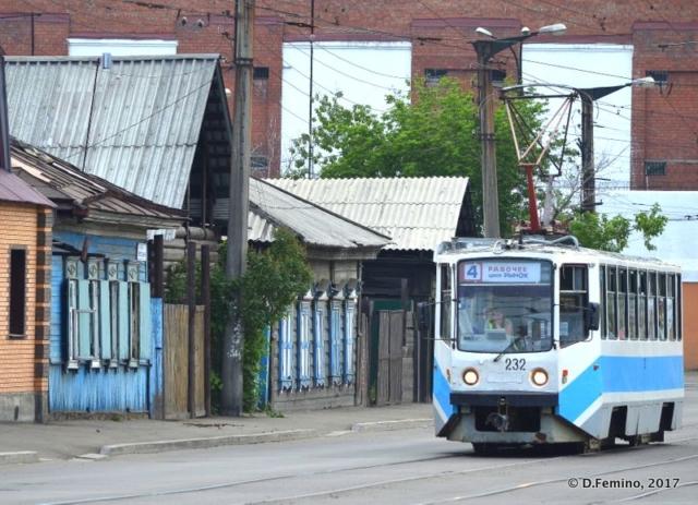 Tram by traditional houses (Irkutsk, Russia, 2017)
