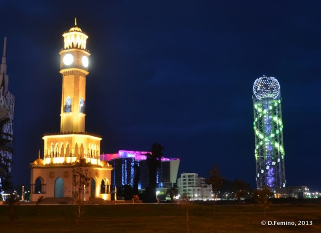 Chacha and Alphabetic towers at night (Batumi, Georgia, 2013)