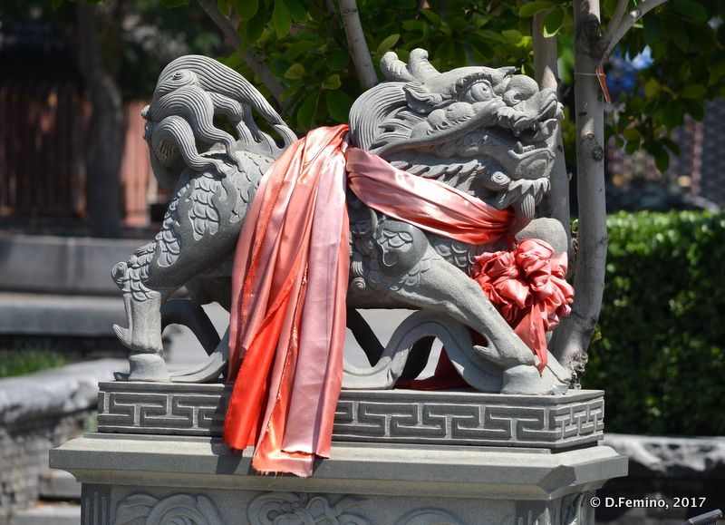 Dragon with a scarf in Huode Zhenjun (Beijing, China, 2017)