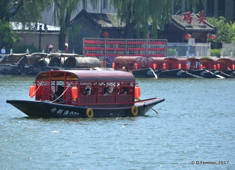 Tourist boats on Qianhai lake (Beijing, China, 2017)