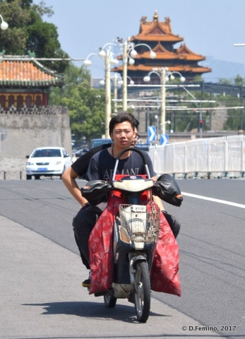 On a motorbike in town (Beijing, China, 2017)