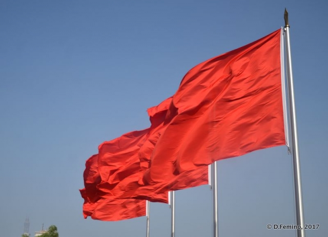 Red flags on Tiananmen gate (Beijing, China, 2017)