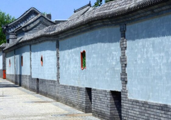 Blue walls in an hutong of Beijing