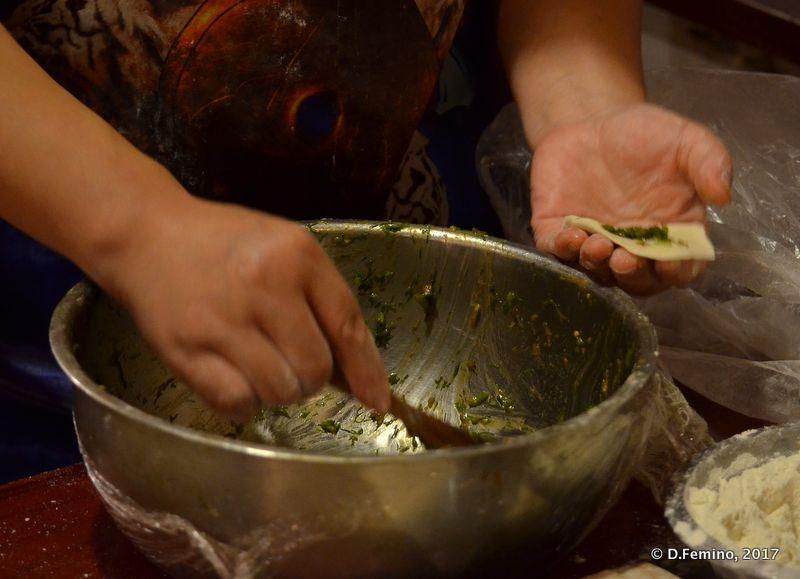 Filling Chinese dumplings (Beijing, China, 2017)