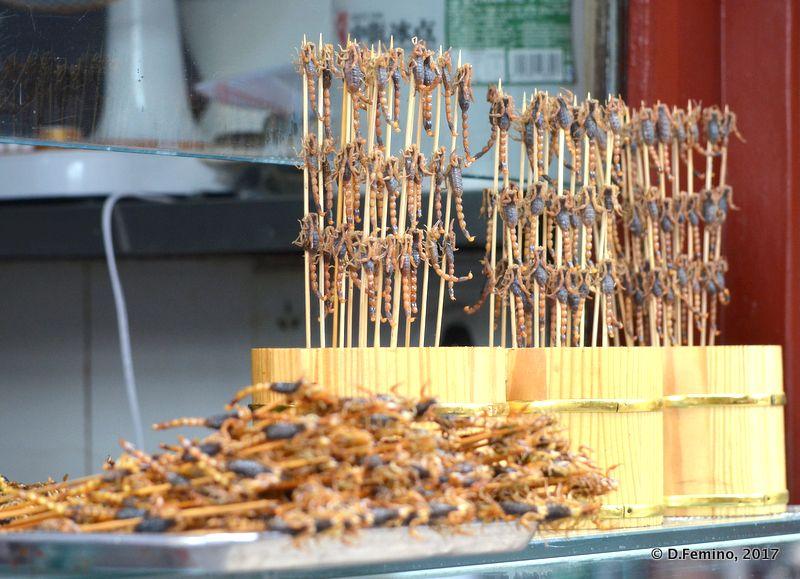 Local snacks in Wangfujing market (Beijing, China, 2017)