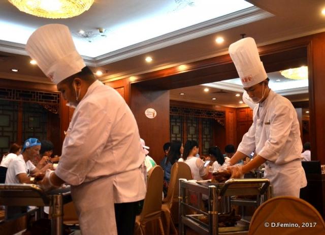 Chefs at work in Quanjude Roast Duck Restaurant (Beijing, China, 2017)