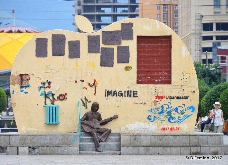 John Lennon monument (Ulaanbaatar, Mongolia, 2017)