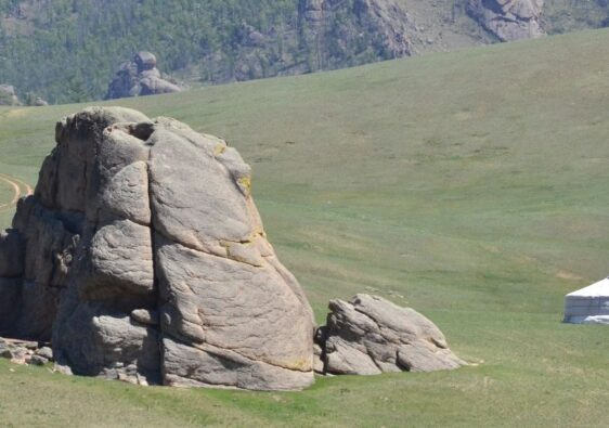 Mongolian landscape with a ger (yurt)