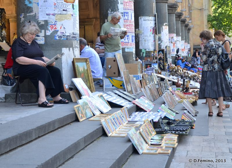 Selling paintings on the stairs (Tbilisi, Georgia, 2013)