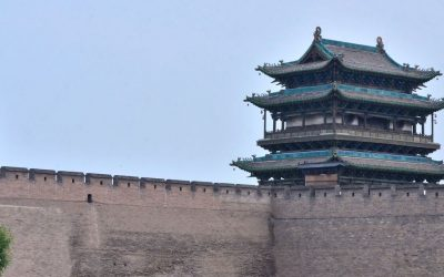Watchtower on old city walls in Pingyao