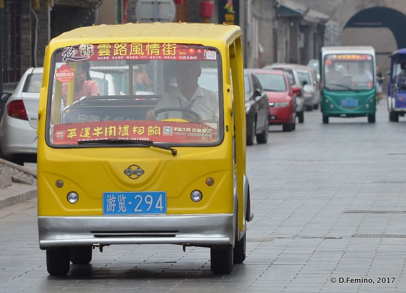Electric shuttle are only cars allowed in town (Pingyao, China, 2017)
