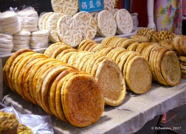 Arab bread in the food market (Xi'an, China, 2017)