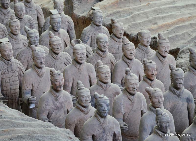 Serious warriors made of terracotta (Xian, China, 2017)