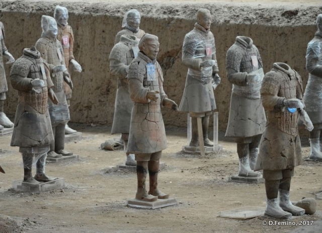 Warriors marked for restoration (Xian, China, 2017)
