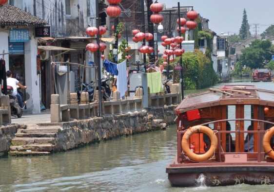 Boat on Shiziyang river in Suzhou