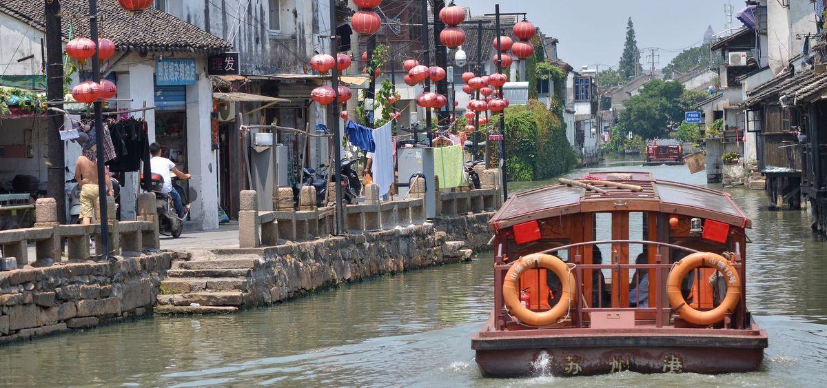 Boat on Shiziyang river in Suzhou