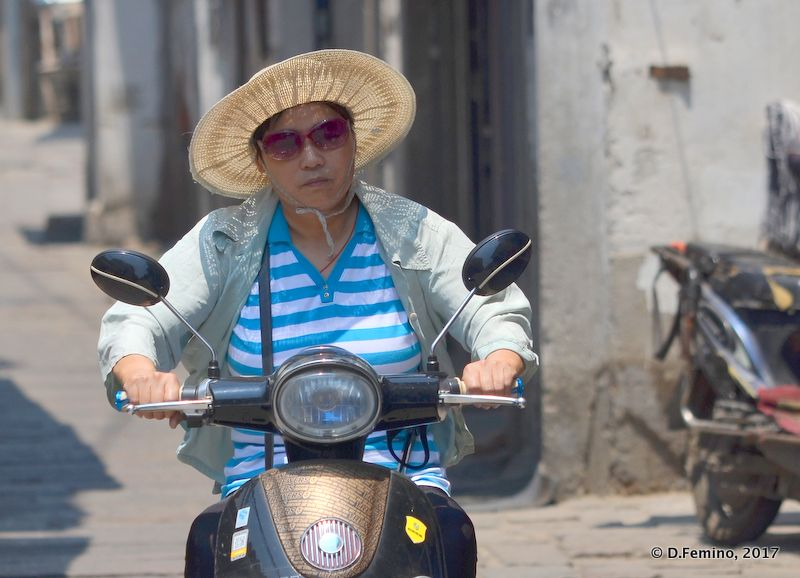 On a motorbike with the hat (Suzhou, China, 2017)