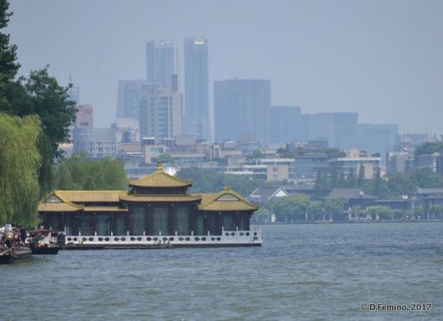 Modern town from the lake (Hangzhou, China, 2017)