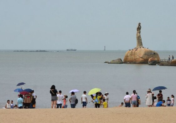 Beach of Zhuhai with Fisher girl statue