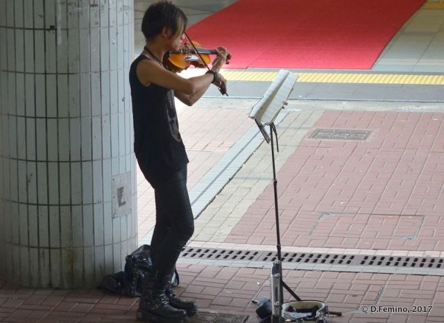 Busker playing violin (Hong Kong, 2017)