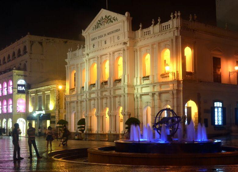 Largo do Senado in Macau at night