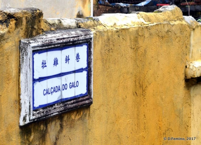 Portuguese and Chinese street sign (Macau, 2017)