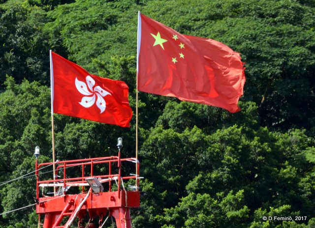 China and Hong-Kong flags (Tai-O, Hong-Kong, 2017)