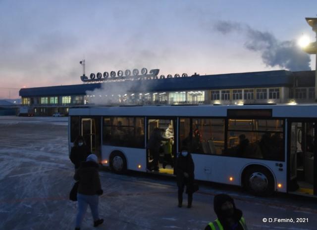 Bus to passenger terminal (Ulan Ude airport, 2021)