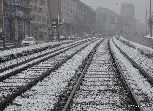 Rail tracks in the snow (Leipzig. Germany, 2016)