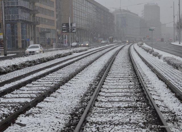 Rail tracks in the snow (Leipzig. Germany, 2016)