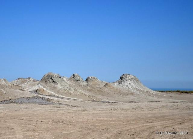 A line of mud volcanos (Qobustan, Azerbaijan, 2013)