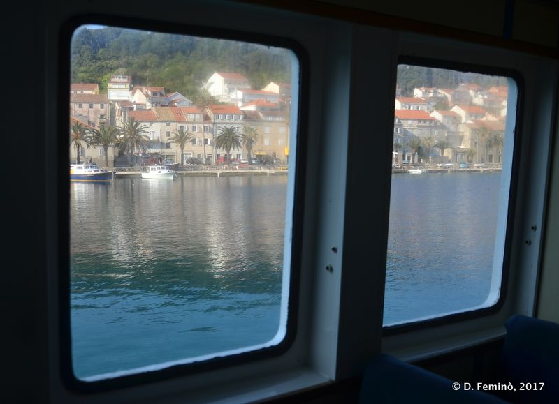 View by the ferry window (Korčula, Croatia, 2017)
